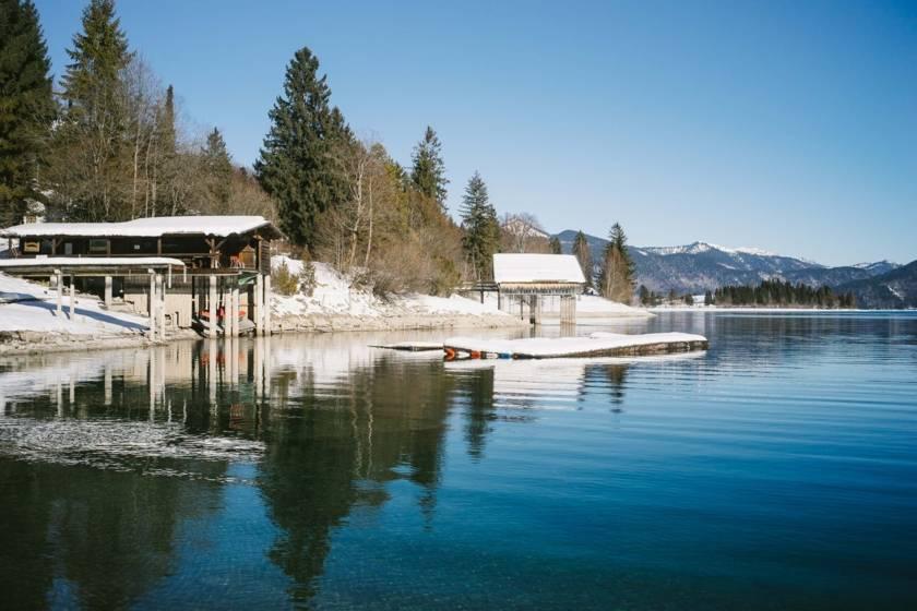 Walchensee Winter Bootshäuser dm0076