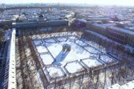 Beinahe herrschaftlich steht der Dianatempel im verschneiten Münchner Hofgarten.