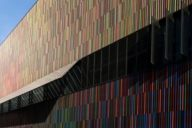 Colourful facade of the Museum Brandhorst in the Maxvorstadt district.