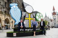 Auf den Fotos zu sehen (v.r.):  Sportreferent Florian Kraus, Bürgermeisterin Katrin Habenschaden und Clemens Baumgärtner, Referent für Arbeit und Wirtschaft.