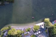 The beergarden Seehaus in the Englischer Garten from a bird's eye view
