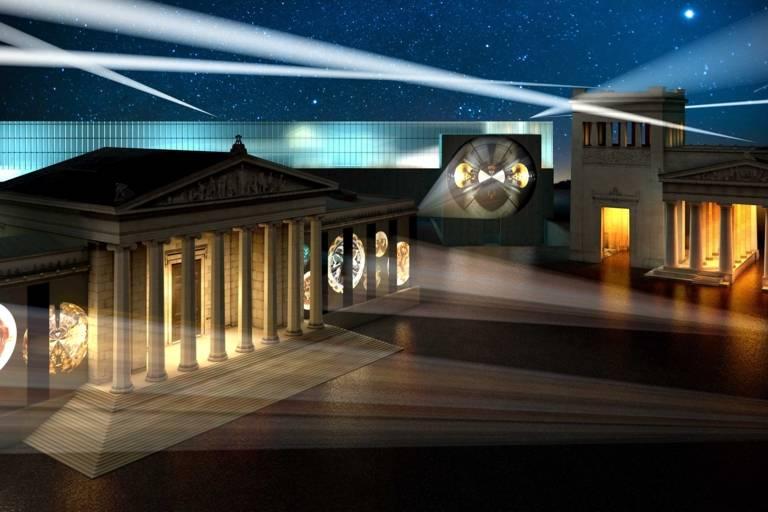 Eine Grafik vom beleuchteten Kunstareal
