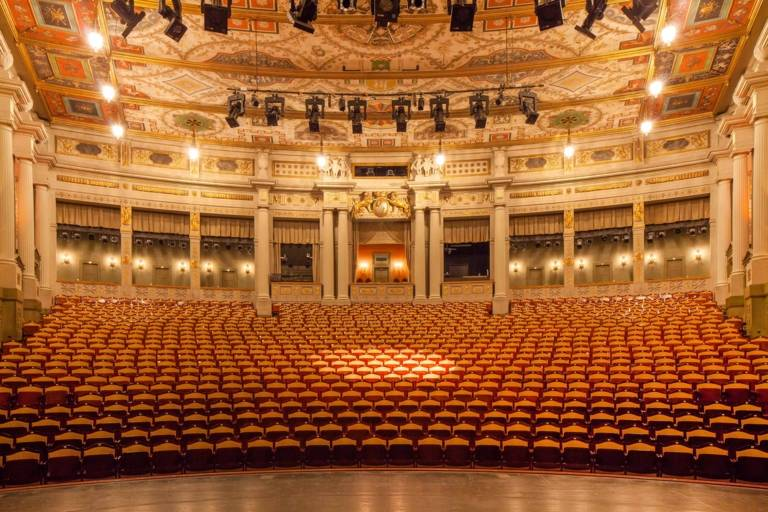 Panoramic view of an empty auditorium of the Prinzregentenheater in Munich.