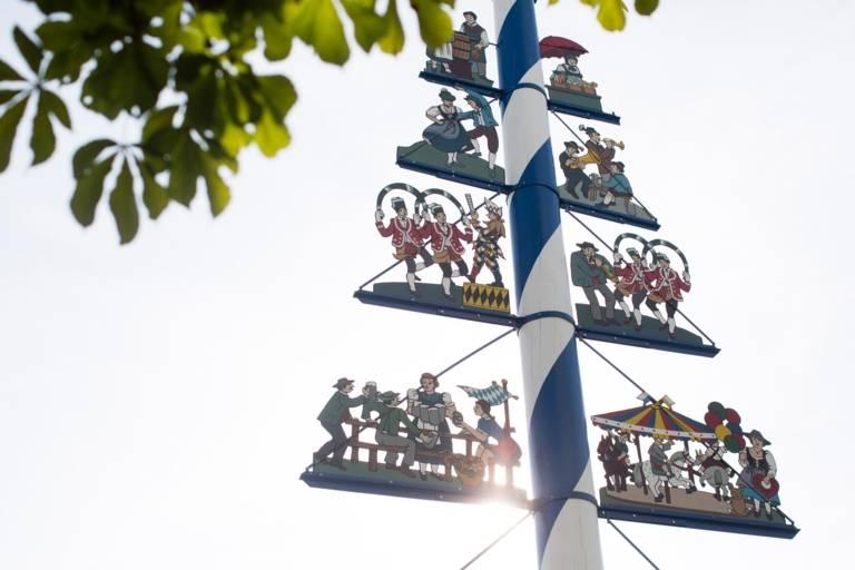 Maypole at Viktualienmarkt in Munich.