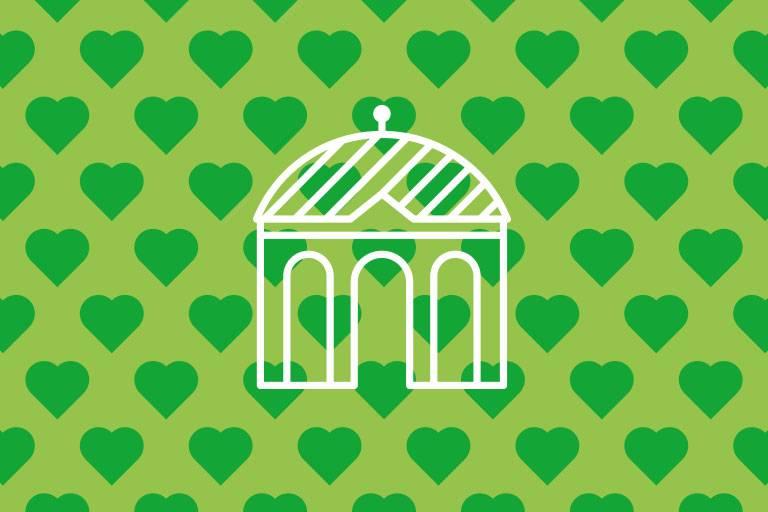 Dianatempel-Icon auf grüner Struktur