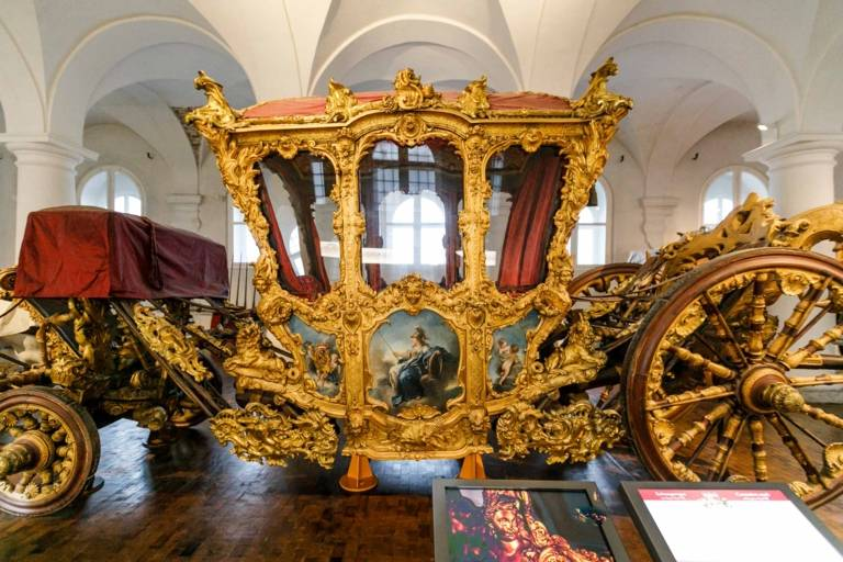 The golden carriage of King Ludwig at the Museum in the former royal stables in Munich.