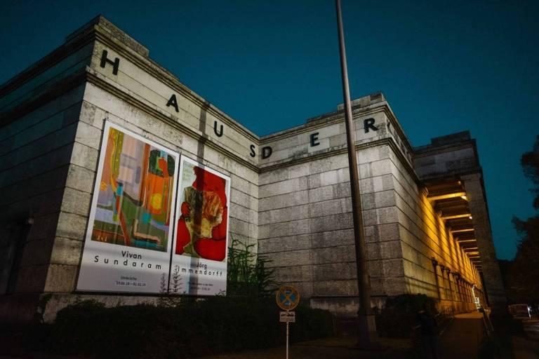 The museum Haus der Kunst in Munich during nighttime