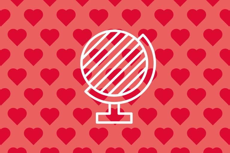Globus-Icon auf roter Struktur