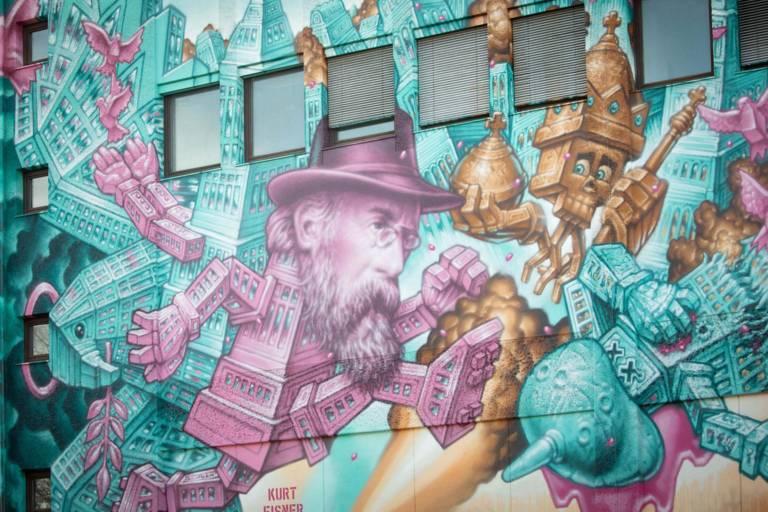 Eine Wand mit Grafitti in München.