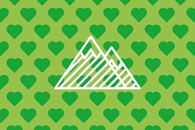 Berge auf grünem Hintergrund.