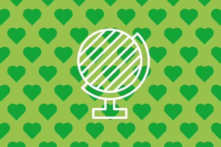 Globus-Icon auf grüner Struktur